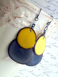 Tagua Nut Slices  Earrings  Yellow  Gray  Eco by JustBeCreative, $27.00