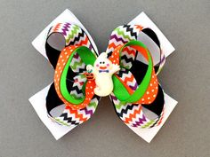 Girls Halloween Chevron Hair Bow Ghost by MommysBowCreations, $6.50
