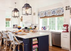 oomph Palo Alto Lanterns in this red, white, and blue kitchen.