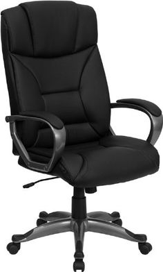 lane executive leather office chair with padded handle & waterfall