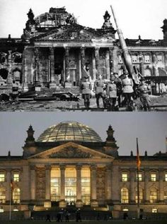 Then& Now Reichstag Berlin, April 1945 and today. Germany Ww2, East Germany, Man Of War, War Photography, Europe, Berlin Wall, World War One, History Photos, Historical Pictures