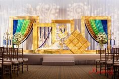 Suhaag Garden, Indian Wedding Decorators, Florida Wedding Decorators, Reception Stage, Lime Green Sapphire Gold & Glitter Draping, Textured Lighting, Signature Frames, Custom Frames, Blue Orchid Garlands
