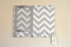 ULTIMATE JEWELRY ORGANIZER-Medium- Gray and Cream Chevron,11x14 inches, 29 Large Hooks. $37.76, via Etsy.