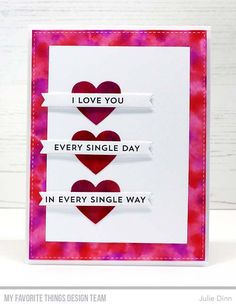 Handmade card from Julie Dinn featuring Hearts in a Row - Vertical Die-namics #mftstamps