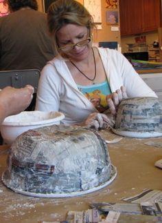 Paper Mache Bowls; paste = 1 part flour + 1 part water
