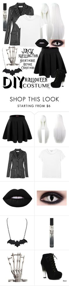 """Jack Skellington DIY"" by ur-simply-unique ❤ liked on Polyvore featuring Doublju, Paul & Joe, Monki, Lime Crime, Fahrenheit, halloweencostume and DIYHalloween"