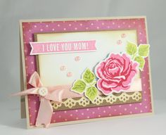 Mother's Day Love you Mom Handmade Card  Rose Card by CardamomsArt