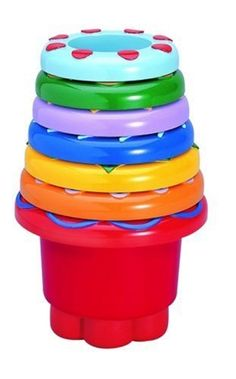 Tolo Toys Rainbow Stackers by Small World Toys. $12.61. 7 brightly colored plastic hats. Great in the bath, garden, or beach. Learn to nest, stack, and sort. Different colors, textures and shapes. Made of multi-colored durable plastic. From the Manufacturer                Young children will delight in these seven brightly colored plastic cups with unique textures, patterns and shapes on them. No matter where you are, these stackers will help kids learn color an...