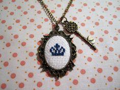 Crown Cross Stitch Necklace by lexysaurusrex on Etsy, $30.00
