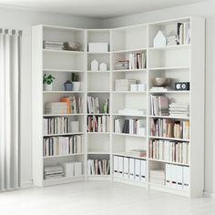 Corner Bookshelf Ikea, Bookshelf Design, Diy Bookshelf Wall, Bookshelf Ideas, Wall Shelves, Bookcase Shelves, White Corner Bookcase, Hemnes Bookcase, Slim Bookcase