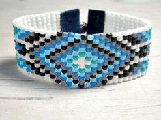 Blue Tribal Bead Loom Bracelet Bead by BeadWorkBySmileyKit on Etsy, $23.00