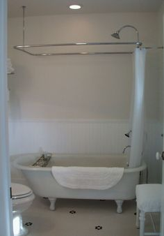 clawfoot shower curtain set up