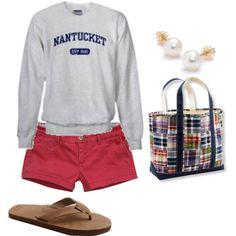 Pearls, khaki flip flops, Nantucket red shorts, patchwork bag, Nantucket sweatshirt. Preppy summer night outfit.