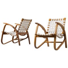 Jan Vanek Pair of Easy Chairs with New Straps Upholstery