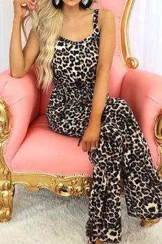 Jumpsuit Sexy Fashion Wide Leg Leopard Print Sleeveless Pocket Sleeveless V-neck Pocket Printing Suspender Fashion And Elegance Suspenders Fashion, Beautiful Dresses For Women, Denim Romper, Jumpsuit Outfit, Jumpsuit With Sleeves, Wide Leg Pants, Lounge Wear, Legs, Jumpsuits