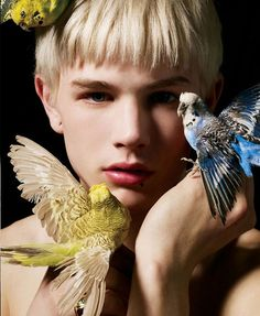 weird androgynous boy with budgies