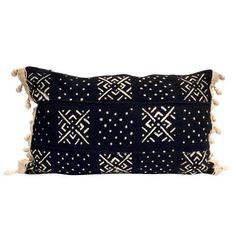 Image of Mud Cloth Lumbar Pillow with Wood Beads