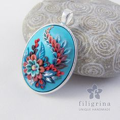 Polymer clay filigree applique technique, handmade jewelry, oval pendant, blue and coral red, vintage, wedding jewelry, flowers, floral jewelry, paisley  Handmade pendant FROZEN red blue floral by Filigrina, €22.99