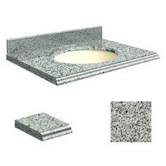 Transolid Rosselin White Granite Undermount Single Sink Bathroom Vanit