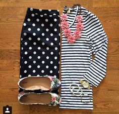 Stripes, polka dots and floral - does and outfit get any cuter?