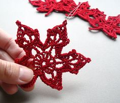 4 Crochet Christmas Ornaments  Red Maple Leaves