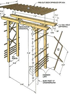 This arbor is easy on the pocketbook and a snap to build. In fact, if you like, you can eliminate most of the cutting by asking the lumberyard to cut the wood to length for a small fee. ideas attached to house How to Build a Simple Entry Arbor Wooden Pergola, Pergola Patio, Pergola Plans, Backyard Landscaping, Cheap Pergola, Pergola Carport, Wood Arbor, White Pergola, Corner Pergola