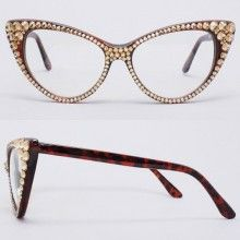 Divalicious CRYSTAL Cat Eye Glasses-Gold on Brown Frame new frames for me