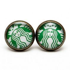 Starbucks earrings, Starbucks stud, starbucks jewelry, coffee earring,... ($8) ❤ liked on Polyvore featuring jewelry, earrings, white stud earrings, studded jewelry, bronze jewelry, vintage looking jewelry and green jewelry