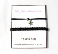 Couples Bracelets, Charm bracelet, Macrame Bracelet with flower charm, Friendship bracelet, Anniversary gift, His and Hers Bracelet by BespokeBracelets on Etsy