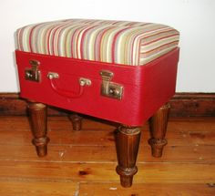 Suitcase Ottoman – Red stripe