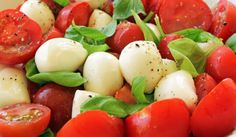 FODMAP Friendly - MOZZARELLA AND TOMATO SALAD. To be safe only use 4 Cherry tomatoes per serve. Goat's milk is easy to digest and contains Caprylic Acid, an antifungal which can actually help to beat Candida.