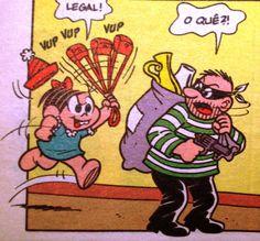 Monica põe o ladrão para correr, ilustração de Maurício de Sousa.