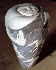 Agnès Debizet - Sculptures céramique terre grès faïence installation in situ luminaire collages d'images récupérées - ceramic sculptures, co...