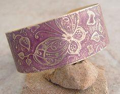 Brass etched bracelet