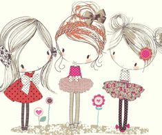 All about surface pattern ,textiles and graphics: Girly doodles Art And Illustration, Illustration Mignonne, Art Mignon, Surface Pattern, Cute Drawings, Girl Drawings, Cute Art, Doodles, Artsy