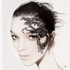 From @nuno_da_costa_illustration . . . #fashion #lace #fashionillustration