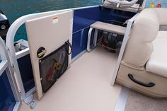 Padded aft sundeck w/changing room/storage compartment w/bench & storage net http://www.exclusiveautomarine.com/product/party-barge-20-dlx