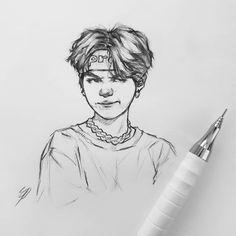 Kkkkkk a pessoa tinha escrevido aqui que era o Jimin kkkkk Meu bem é o Yoongi Kpop Drawings, Art Drawings Sketches, Fanart Bts, Bts Chibi, Drawing Faces, Drawing Drawing, Drawing Tips, Bts Fans, Drawing People