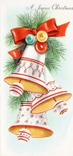 """Look, bells are ringing, Merry Christmas! Vintage Christmas Images, Retro Christmas, Vintage Holiday, Christmas Pictures, Vintage Greeting Cards, Christmas Greeting Cards, Christmas Greetings, Holiday Cards, Christmas Bells"