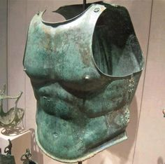 The typical Greek muscled thorax of Late Classical and Hellenistic age. This one belongs to the century BC. Greek Artifacts, Ancient Artifacts, Ancient Armor, Medieval Armor, Greek History, Ancient History, Roman Armor, Classical Period, Classical Greece