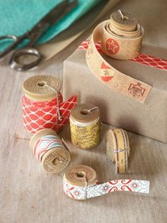 make decorative paper tape from leftover wrapping paper by cutting it into stripes