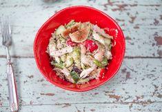Couscousista ja broilerista valmistat ihanan salaatin. Silppua halutessasi joukkoon tuoreita yrttejä, kuten minttua tai korianteria. Couscous, Feta, Dairy, Cheese