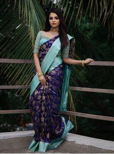 Wedding Saree Blouse Designs, Pattu Saree Blouse Designs, Half Saree Designs, Fancy Blouse Designs, Saree Wedding, Bridal Sari, Indian Bridal, Designer Silk Sarees, Art Silk Sarees