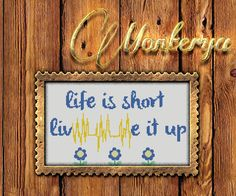 Life is short , love it up pattern for cross stitch download PDF  inscription  download by Monterya on Etsy