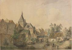 Aquarel voorstellende de Lekpoort te Culemborg, vervaardigd door Dirk van Lokhorst, 1839