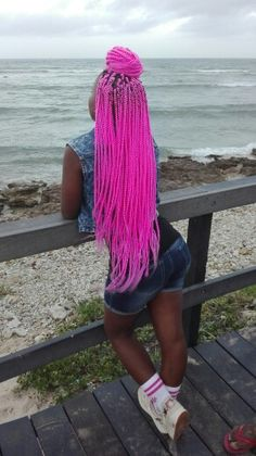 "Me pink styling! You know the saying, ""pink hair don't care!"" #pink #braids #boxbraids #fun #color"