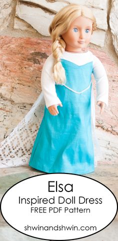 Elsa Inspired Doll Dress Pattern - Shwin and Shwin American Girl Outfits, American Girl Diy, American Girl Dress, Doll Dress Patterns, Shirt Patterns, Sewing Patterns, Sewing Ideas, Sewing Projects, Elsa Dress