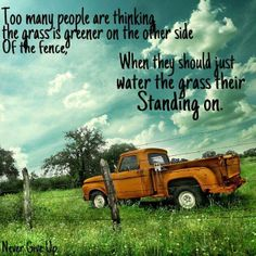 Too many people are thinking the grass is greener on the other side... Of the fence When they should just water the grass their Standing on.  https://www.facebook.com/TheIncomeFormula