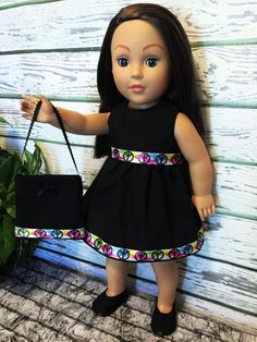 Items similar to Doll Clothes, Black Peace Doll Dress and Purse, Doll Dress, Girl Birthday Gift, doll clothes American handmade on Etsy Girl Doll Clothes, Doll Clothes Patterns, Clothing Patterns, Birthday Gifts For Girls, Girl Birthday, Bitty Baby, Gathered Skirt, Barbie Dolls, American Girl