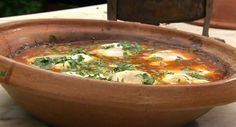 Rick Stein serves up Moroccan lamb meatballs kofta tagine with eggs in Morocco on Saturday Kitchen. The ingredients are: 3 tbsp olive oil, 4 very fresh medium-sized free-range eggs, salt and freshl… Tagine Recipes, Lamb Recipes, Meatball Recipes, Egg Recipes, Chicken Recipes, Kofta Meatballs Recipe, Lamb Meatballs, Fresh Coriander, Coriander Leaves